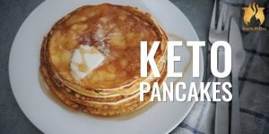 With a crepe-like batter and surprisingly fluffy texture, these keto pancakes are a breakfast recipe that keto dieters & non-keto dieters alike will enjoy.