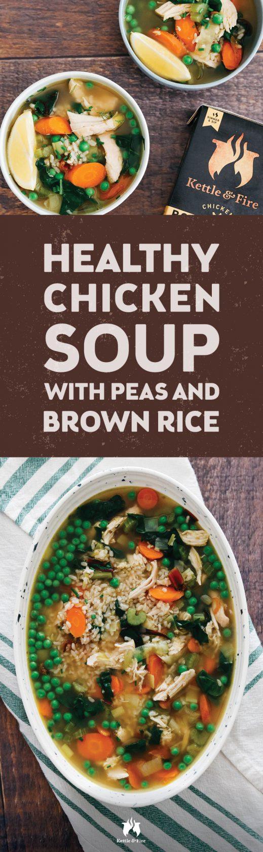 Tender bits of shredded chicken cooked in coconut oil and bone broth are the highlight of this healthy chicken soup recipe. This soup recipe is fortified with our Kettle & Fire Chicken Bone Broth, which ups the nutrition with a good dose of collagen and extra protein.