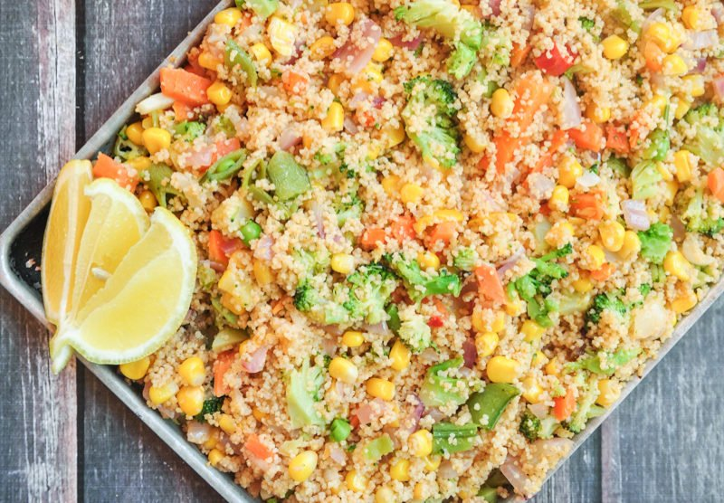 This chipotle roasted vegetable couscous will spice up any boring meal. Only five minutes of prep, seven ingredients, and an ideal way to use up fresh veggies.