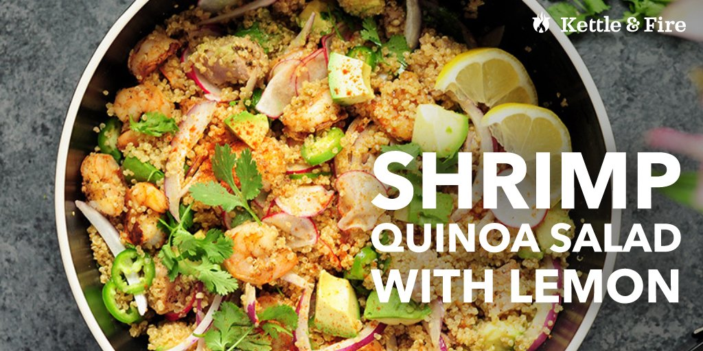 This shrimp quinoa salad is fresh and filling. Made with seasoned tuna steak, cooked shrimp, and a lemon dressing, it's just as addictive as it is nutritious.
