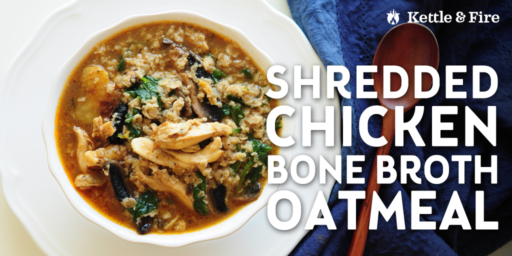 Use last night's leftover chicken to make this delicious savory shredded chicken oatmeal. Protein-rich, only 8 ingredients, and ready in 15 minutes.