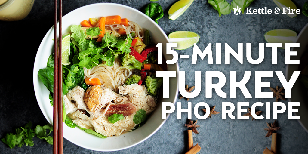 Repurpose your leftovers to make this quick and easy, comforting turkey pho. Only 15 minutes from start to end, 11 ingredients, loaded with authentic flavor.