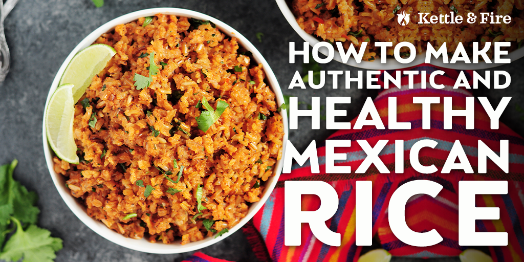 Learn how to make flavorful, healthy, authentic Mexican rice in just four easy steps. Bone broth adds nutrients and flavor. Perfect for taco night.